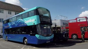 Modern Wright Gemini 'Coastliner' which we were able to have a ride on at the Scarborough Bus Fest 2017 alongside some preserved open toppers.